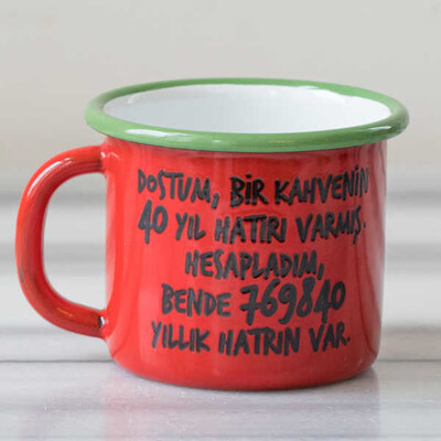 40 Yıl Hatırlı Emaye Kupa - Kırmızı - Thumbnail