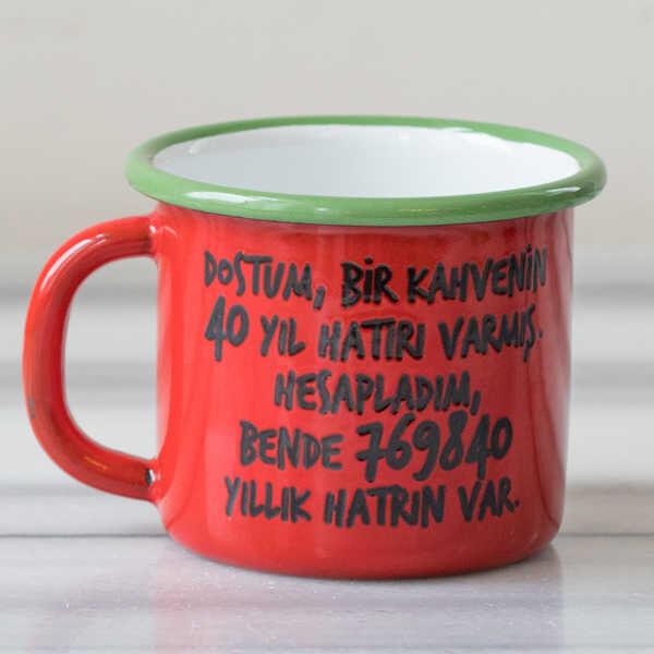 40 Yıl Hatırlı Emaye Kupa - Kırmızı