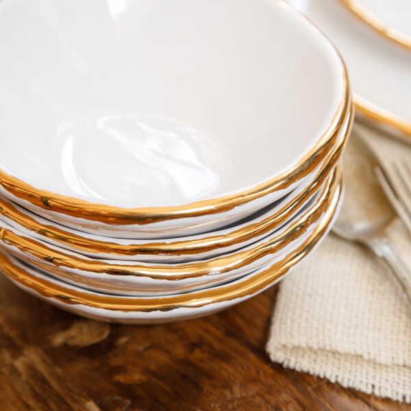 Altın Yaldızlı 4 Kişilik Seramik Yemek Seti
