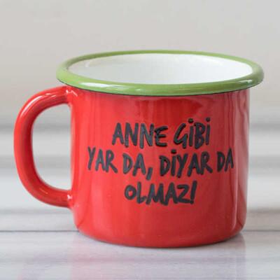 Anne Gibi Yar Emaye Kupa - Kırmızı - Thumbnail