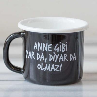Anne Gibi Yar Emaye Kupa - Siyah - Thumbnail