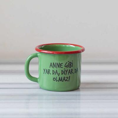 Anne Gibi Yar Emaye Kupa - Yeşil - Thumbnail