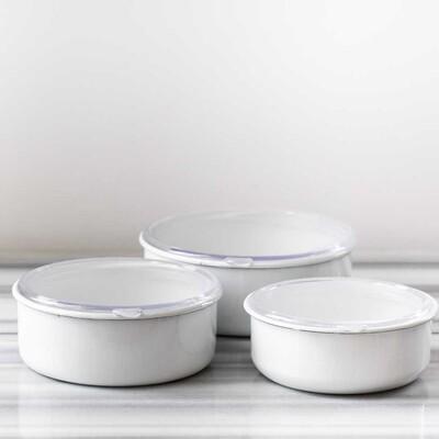Beyaz 3'lü Sakla, Pişir, Sun, Ye Kapları - Thumbnail