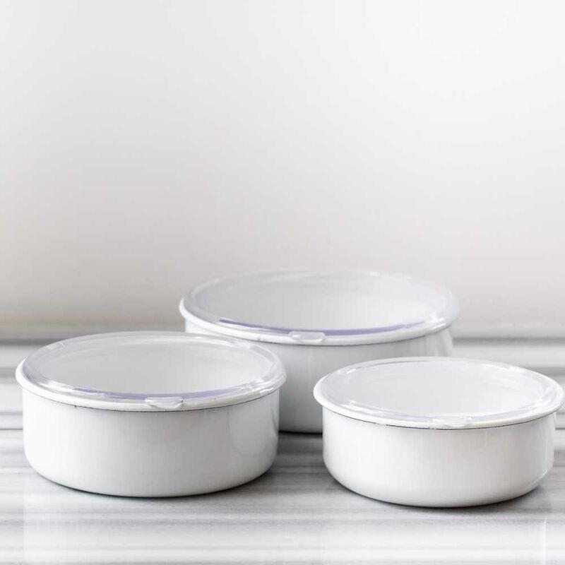 Beyaz 3'lü Sakla, Pişir, Sun, Ye Kapları