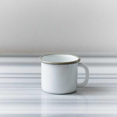 Beyaz Gri Emaye Kupa - Thumbnail