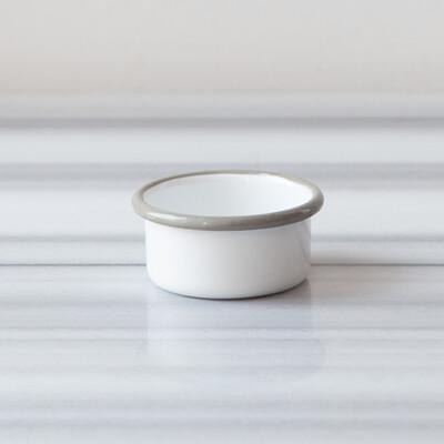 Beyaz Gri Emaye Mini Kase - Thumbnail