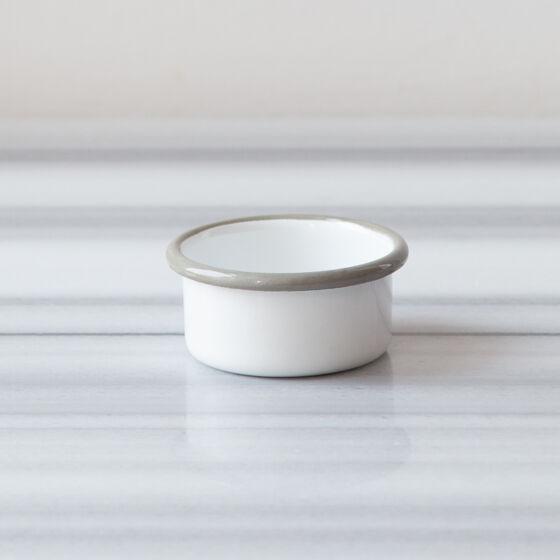Beyaz Gri Emaye Mini Kase