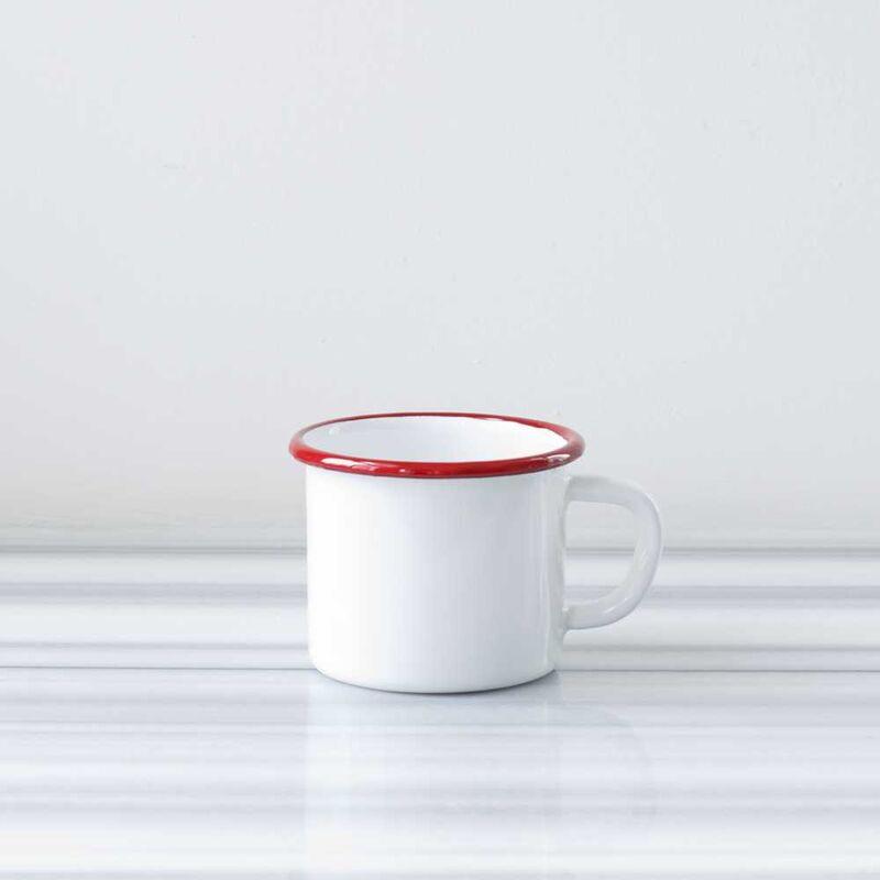 Beyaz Kırmızı Emaye Kocaman Kupa