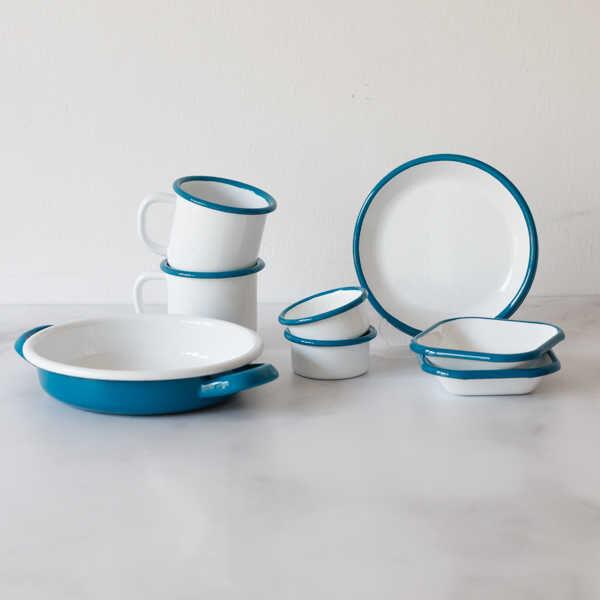 Beyaz Mavi İki Kişilik Kahvaltı Seti