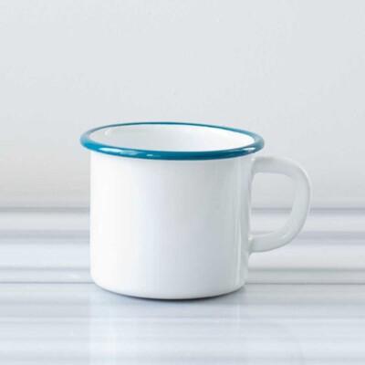 Beyaz Mavi Emaye Kocaman Kupa - Thumbnail