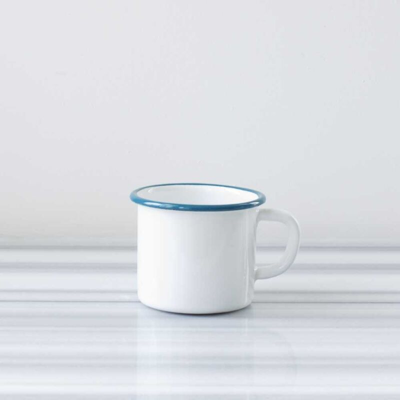 Beyaz Mavi Emaye Kocaman Kupa