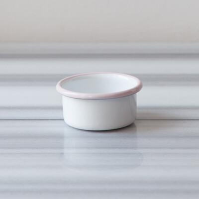 Beyaz Pembe Emaye Mini Kase - Thumbnail