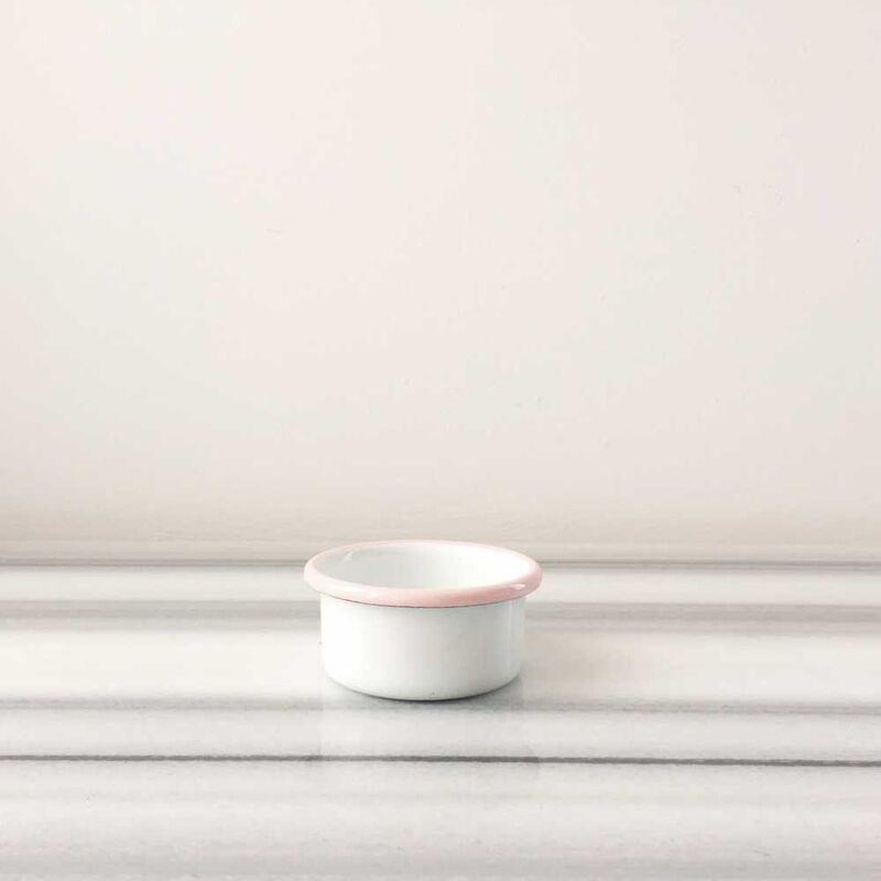 Beyaz Pembe Emaye Mini Kase