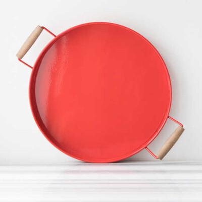 Galvaniz Büyük Kırmızı Tepsi - Thumbnail
