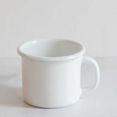 Beyaz Emaye Kupa - Thumbnail