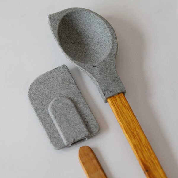 Granit 2'li Ahşap Saplı Silikon Set