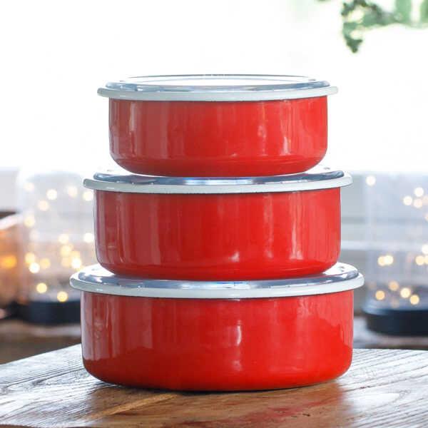 Kırmızı 3'Lü Sakla, Pişir, Sun, Ye Kapları
