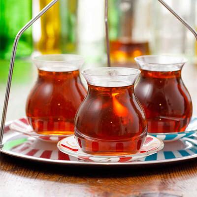 Kırmızı Ayyıldız Tabaklı Gönlübol Çay Bardağı - Thumbnail