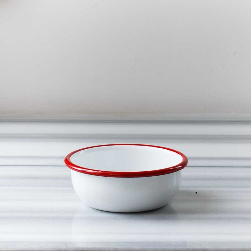 Kırmızı Beyaz Emaye Yemek Seti