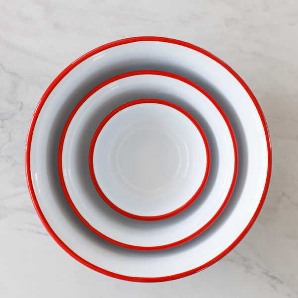 Kırmızı Emaye Kase - 32 cm.