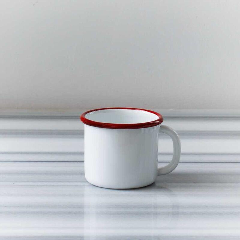 Kırmızı Emaye Tek Kişilik Çay & Kahve Seti