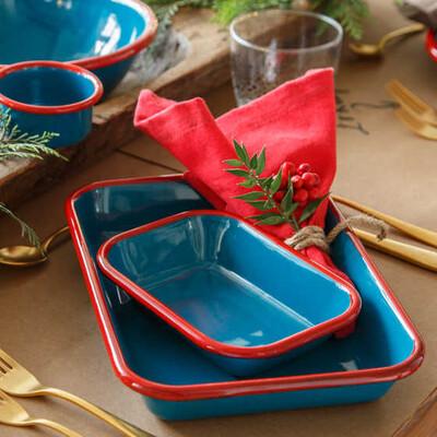Kırmızı Mavi Emaye Meze Seti - Thumbnail