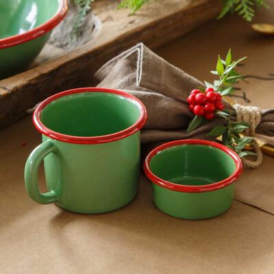Kırmızı Yeşil Emaye Kupa - Thumbnail