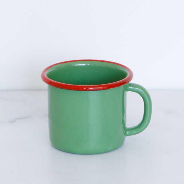Kırmızı Yeşil Emaye Kupa