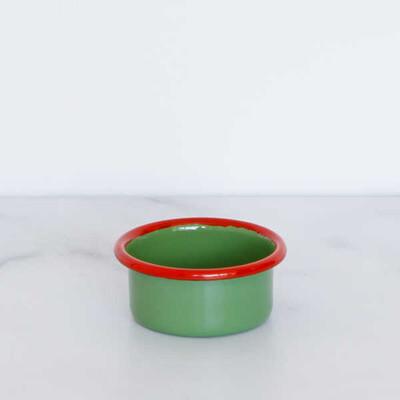 Kırmızı Yeşil Emaye Mini Kase - Thumbnail
