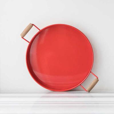 Galvaniz Küçük Kırmızı Tepsi - Thumbnail