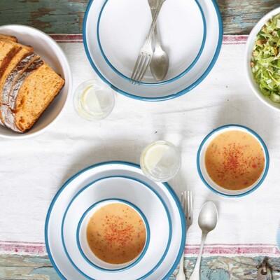 Mavi Beyaz Emaye Yemek Seti - Thumbnail
