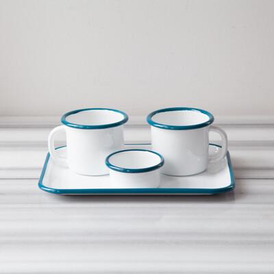 Mavi Emaye İki Kişilik Çay&Kahve Seti - Thumbnail