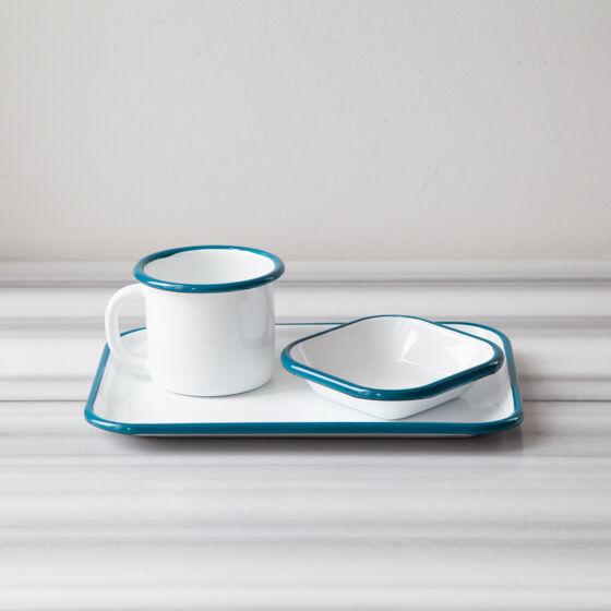 Mavi Emaye Tek Kişilik Çay & Kahve Seti