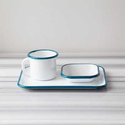 Mavi Emaye Tek Kişilik Çay & Kahve Seti - Thumbnail