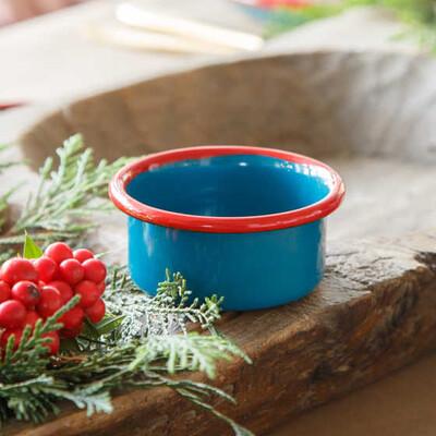 Kırmızı Mavi 7 Parça Emaye Yemek Seti - Thumbnail