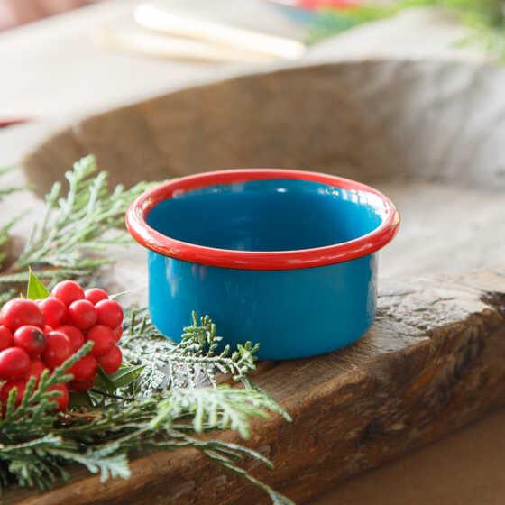 Kırmızı Mavi 7 Parça Emaye Yemek Seti