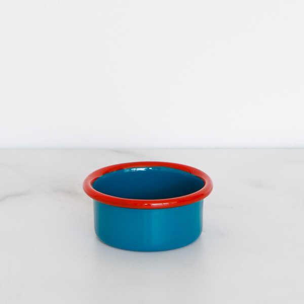 Kırmızı Mavi Emaye Mini Kase