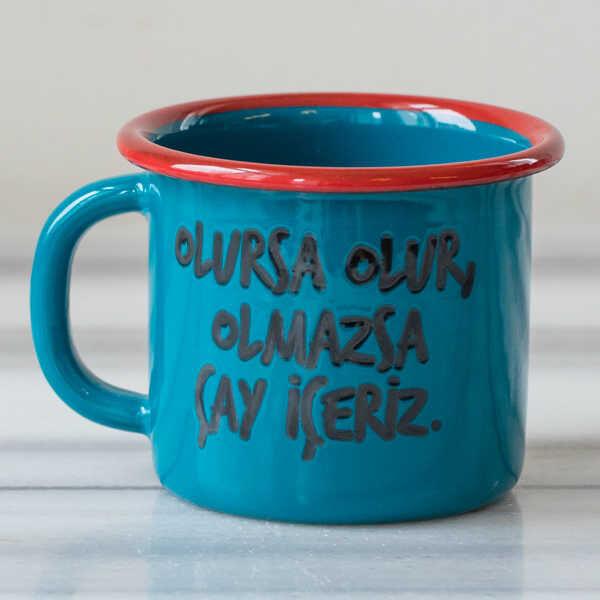 Olmazsa Çay İçeriz Emaye Kupa - Mavi