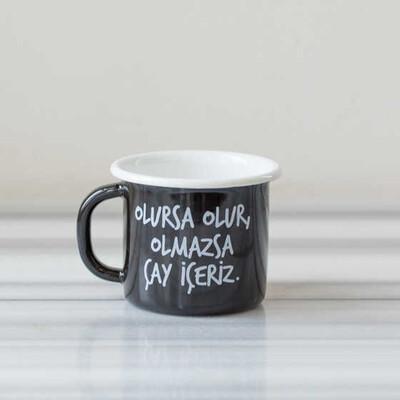 Olmazsa Çay İçeriz Emaye Kupa - Siyah - Thumbnail