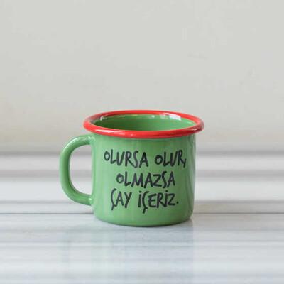 Olmazsa Çay İçeriz Emaye Kupa - Yeşil - Thumbnail