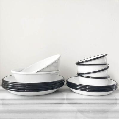 Siyah Beyaz Emaye Yemek Seti - Thumbnail