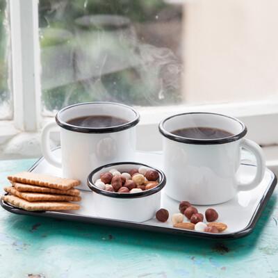 Siyah Emaye İki Kişilik Çay&Kahve Seti - Thumbnail