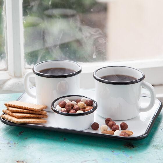 Siyah Emaye İki Kişilik Çay&Kahve Seti