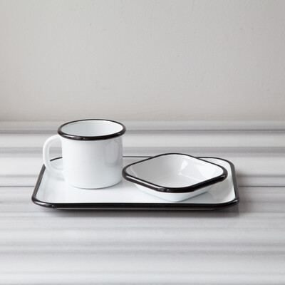 Siyah Emaye Tek Kişilik Çay&Kahve Seti - Thumbnail