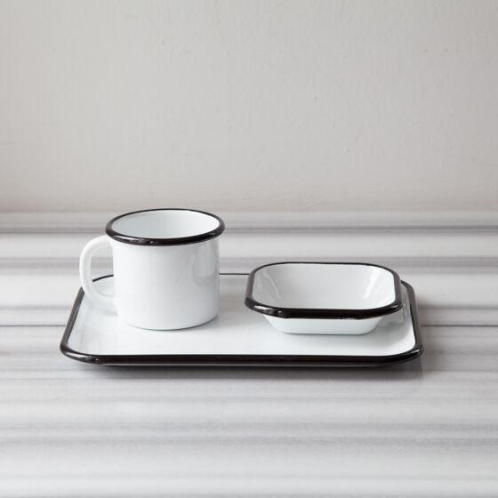 Siyah Emaye Tek Kişilik Çay&Kahve Seti