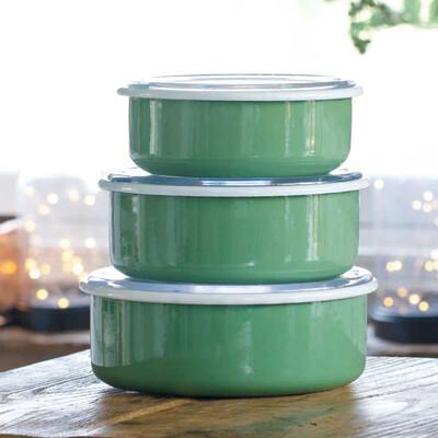 Yeşil 3'lü Sakla, Pişir, Sun, Ye Kapları - Thumbnail