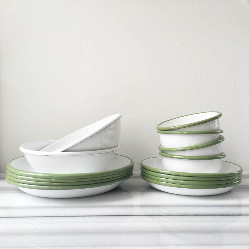 Yeşil Beyaz Emaye Yemek Seti