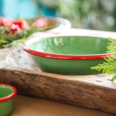 Kırmızı Yeşil 7 Parça Emaye Yemek Seti - Thumbnail