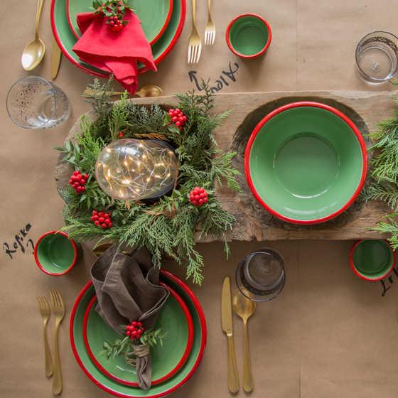 Kırmızı Yeşil 7 Parça Emaye Yemek Seti