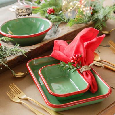 Kırmızı Yeşil Emaye Meze Seti - Thumbnail